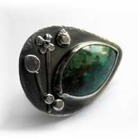 Green Turquoise Sterling Silver size 7 Ring by patinaware on Etsy