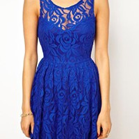 John Zack Skater Dress In Lace With Open Back at asos.com