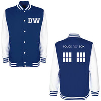 DW TARDIS Police Box Varsity Jacket - Whovian Geek Fan Doctor Who Inspired University College Letterman Baseball Jacket