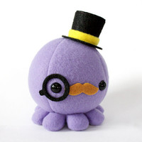 Moustache Octopus Plush w/ Top Hat and Monocle by cheekandstitch