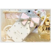 3d Bling Crystal Bow Transparent Case for Apple Iphone 4 and 4s (Pink): Cell Phones & Accessories