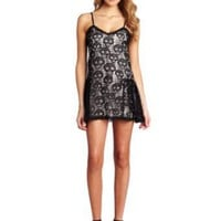 Betsey Johnson Women's Rocker Skull Lace Slip Dress