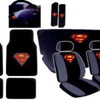 Amazon.com: 15pcs New Superman Car Seat Covers Set with Heavy Duty Carpet Floor Mats, Shoulder Pads and Steering Wheel Cover: Automotive