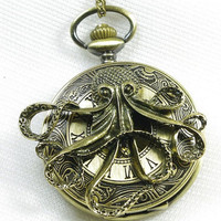 antique Steampunk octopus Pocket Watch Locket by qizhouhuang