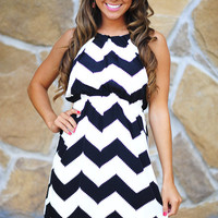 Innocence In Chevron Dress: Black/Off White | Hope's