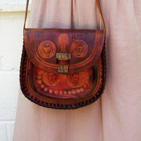 Vintage tooled leather shoulder bag from Vintage Child