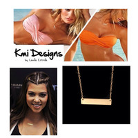 Gold Bar Necklace Celebrity Style by camilaestrella on Etsy