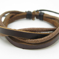 Cuff Bracelet Made Of Real Brown Leather and Cotton