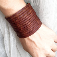 Sliced BROWN Leather Cuff Bracelet  Adjustable With metal Studs