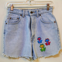 Stone Washed Faded Denim Fringed Shorts with Frog Decals