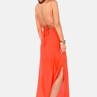At Long Last Neon Orange Maxi Dress