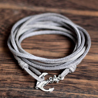 Gray wrapping Silver Anchor Wrap Bracelet ,Nautical Anchor Bracelet,Anniversary, Birthday Gift,Graduation Gift