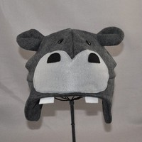 Hippo Grey Earflap Beanie Animal Fleece Hat by ForwardMotionArt
