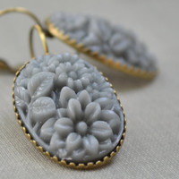 Grey Rose Boho Earrings, Vintage Carved Resin, Floral Bouquet Oval, Antiqued Brass Lever Back