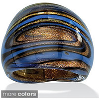 Lillith Star Blue, Black and Bronzetone Glass Dome Ring | Overstock.com