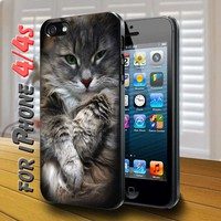 Cute Cat in box Black Case for iphone 4 / 4s