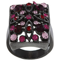 City Style Antique Silvertone Pink Crystal Pave Rectangle Ring | Overstock.com