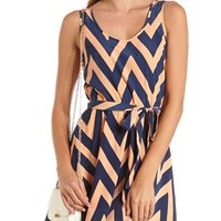Belted Chevron Stripe Tank Dress: Charlotte Russe