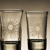 Shot Glasses set of 4 sandblasted to look shot by sketchandetch