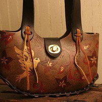Sweet Jasmine Purse - Leather in Burgundy, Gold, Antique Black and Black | moxieandoliver - Bags & Purses on ArtFire