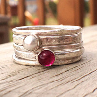 Ruby and Freshwater Pearl Sterling Silver Stacking Rings - US Size 7