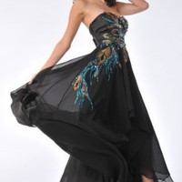 Zeilei 5846 Strapless Peacock Embroidery Evening Prom Pageant Dress