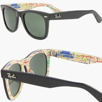 2012 RAY BAN WAYFARER RARE PRINTS NYC METRO Sunglasses - RB2140 1028 (50mm)