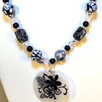 Black Gemstone Necklace Capiz Shell Focal Point