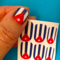 Nail Decals a lo cubano Cuban Flag Nail Decals