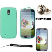 Teal TPU Skin Cover Case With Built in Screen Protector For Samsung Galaxy S4 Android Smartphone 4G LTE (Jelly Bean) + Silver Swarovski Crystal Headphone Jack Dust Plug + Samsung Galaxy S4 Screen Guard Protector + an eBigValue TM Determination Hand Strap