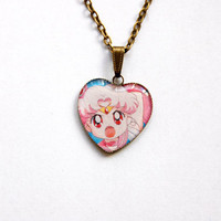 Sailor Chibi-Moon (Chibi-Usa or Rini) - Handmade Vintage Cameo Pendant Necklace