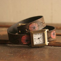 Irish Coffee Wrap Watch - Leather in Purple, Pink and Antique Black | moxieandoliver - Jewelry on ArtFire