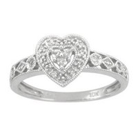 10k White Gold Diamond Heart Ring (.04 cttw, I-J Color, I2-I3 Clarity), Size 5