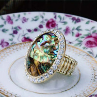 Abalone & Stone Ring, Women's Sweet Country Inspired Jewelry
