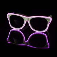 EL Wire Light Up White and Purple Sunglasses : LED Wire Glasses from RaveReady