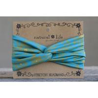 Aqua & Olive Flower Stretchy Headband