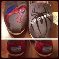 Spiderman Inspired Custom Painted TOMS