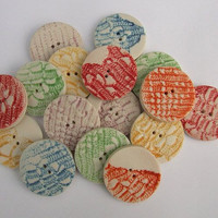 Porcelain Ceramic Round Button with Lace Print - Button Craft Supplies Scrapbooking Embellishment