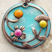 Studio Made Floral Bouquet Necklace Copper Enamel Vintaj