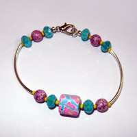 Pink and Blue Polymer Clay Bangle Bracelet