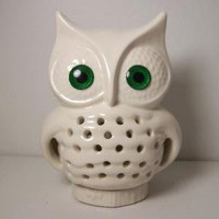 Ceramic Owl TV Lamp Vintage Design In White by fruitflypie on Etsy