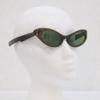 50s Sunglasses Vintage Cateye Confetti Lucite Brown Gold Glitter Glasses Calobar Lenses
