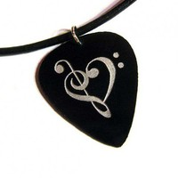 silver clef heart guitar pick necklace on leather cord | HeavyMetalPicks - Jewelry on ArtFire