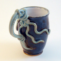 Squid Latte Mug Inky Brown Blue Octopus Stoneware by skybirdarts
