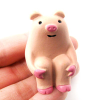 Adorable Piglet Piggy Animal Hand Painted Figurine Paperweight | Home Decor