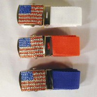 AMERICAN FLAG RHINESTONE BUCKLE W BELT jewel belts novelty womens ladies new