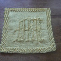 Hand Knit Old English Lovely Letter M Yellow Dish Cloth or Wash Cloth