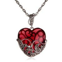 "Amazon.com: Sterling Silver Marcasite and Garnet Colored Glass Heart Pendant, 18"": Jewelry"