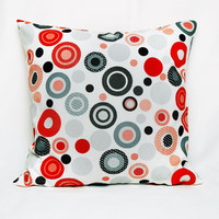 Red Black Grey Polka Dots Print Decorative Pillow Case , Cream Ecru Backround , Water and Stain Resistant Cushion Cover