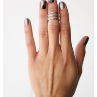 Stacked Knuckle Ring- Silver